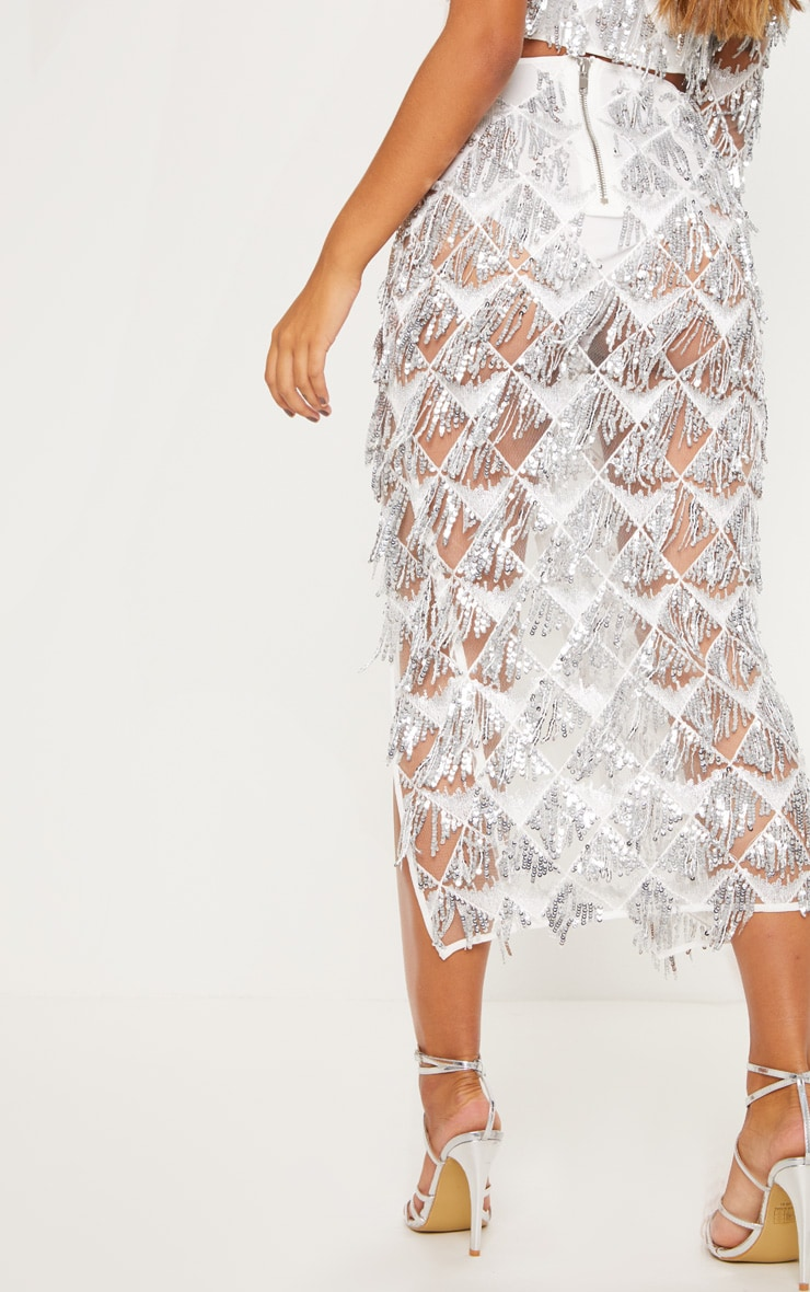 Silver Tassel Sequin Extreme Split Midaxi Skirt 4