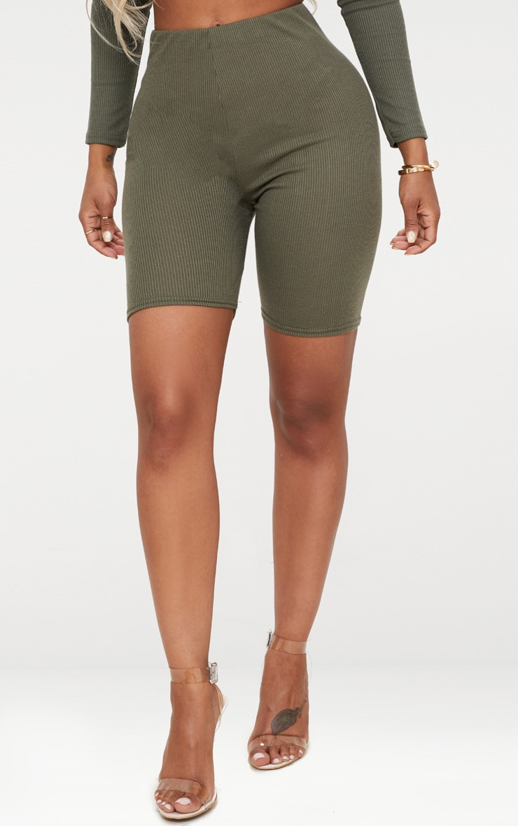 Shape Khaki Ribbed Cycling Shorts 2