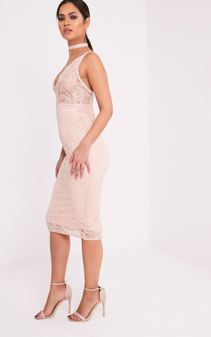 Mikalia Nude Strappy Lace Midi Dress 4