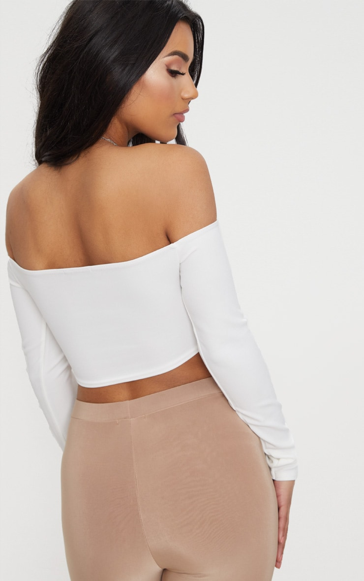 White Lace Up Front Crop Top  2