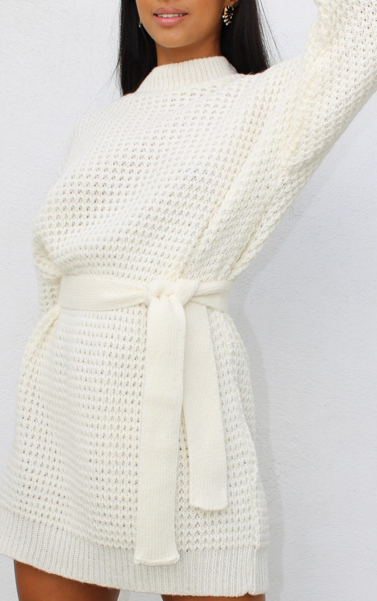 Petite Cream Soft Touch Belted Knitted Jumper Dress 4