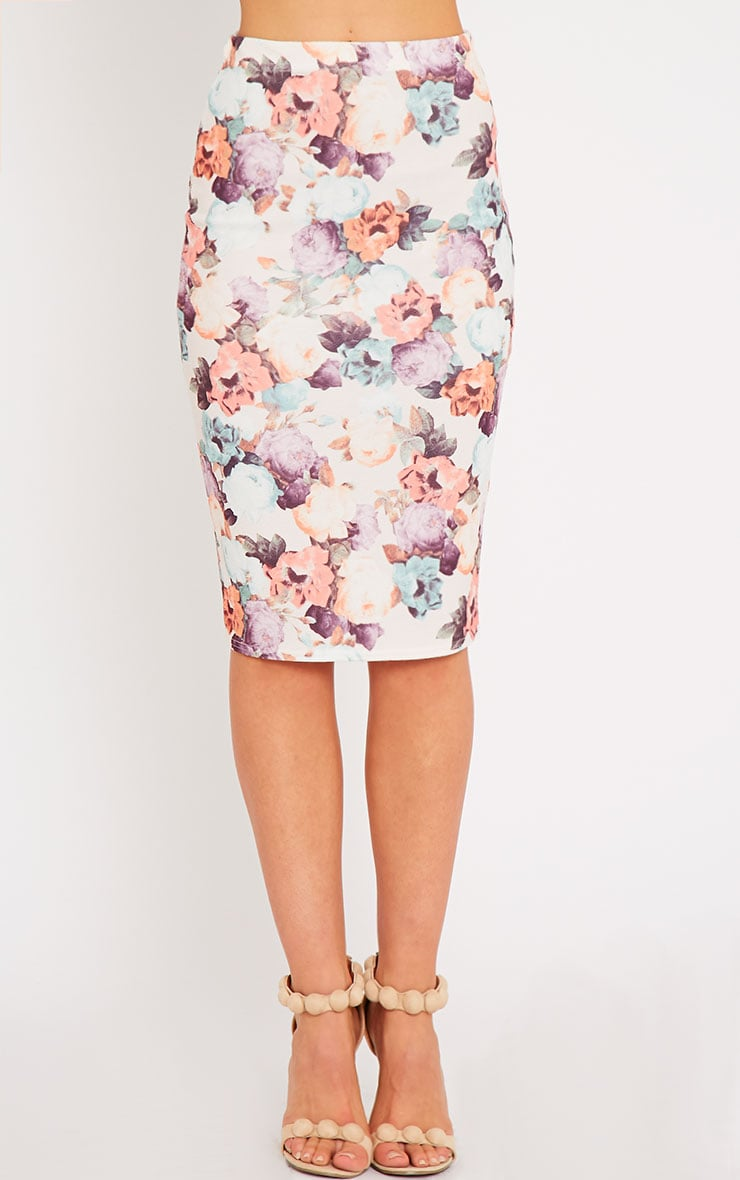Louisa Cream Floral Print Midi Skirt 2