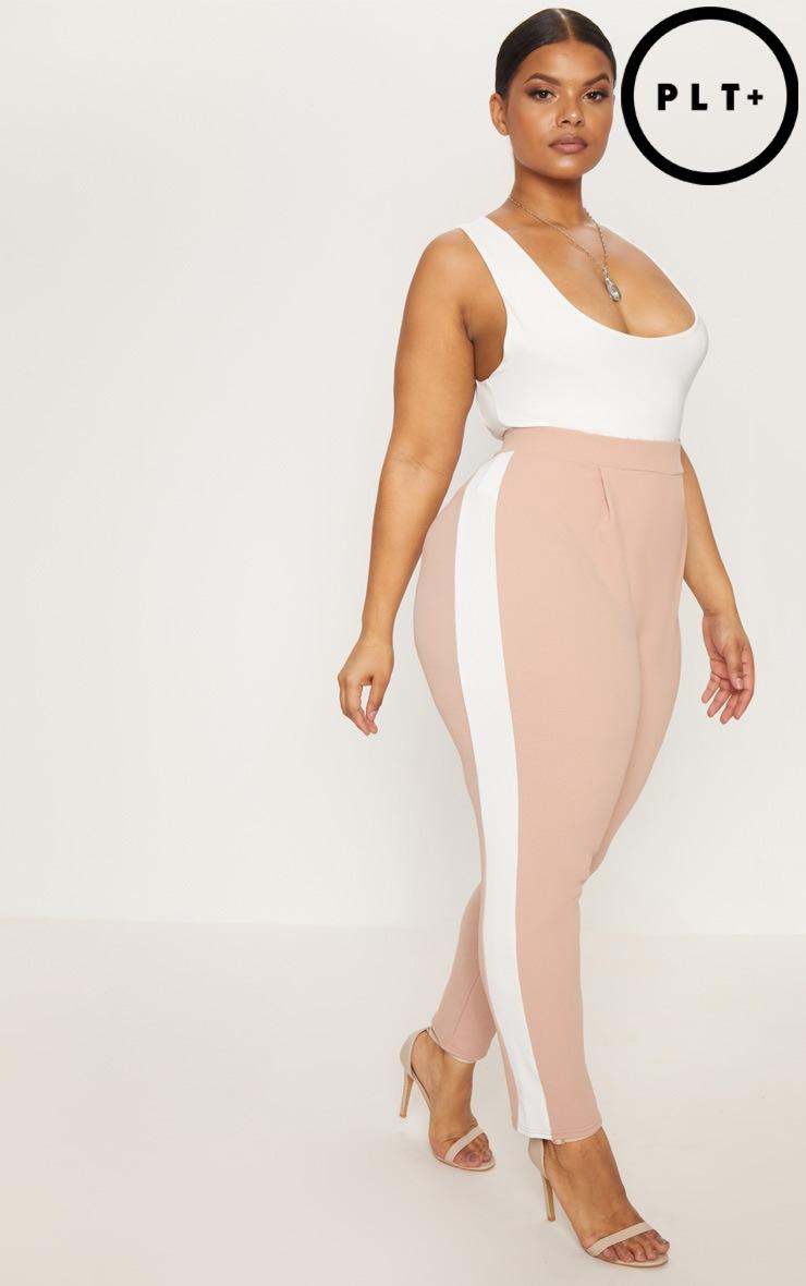 Plus Nude Side Stripe Cropped Cigarette Trousers 1