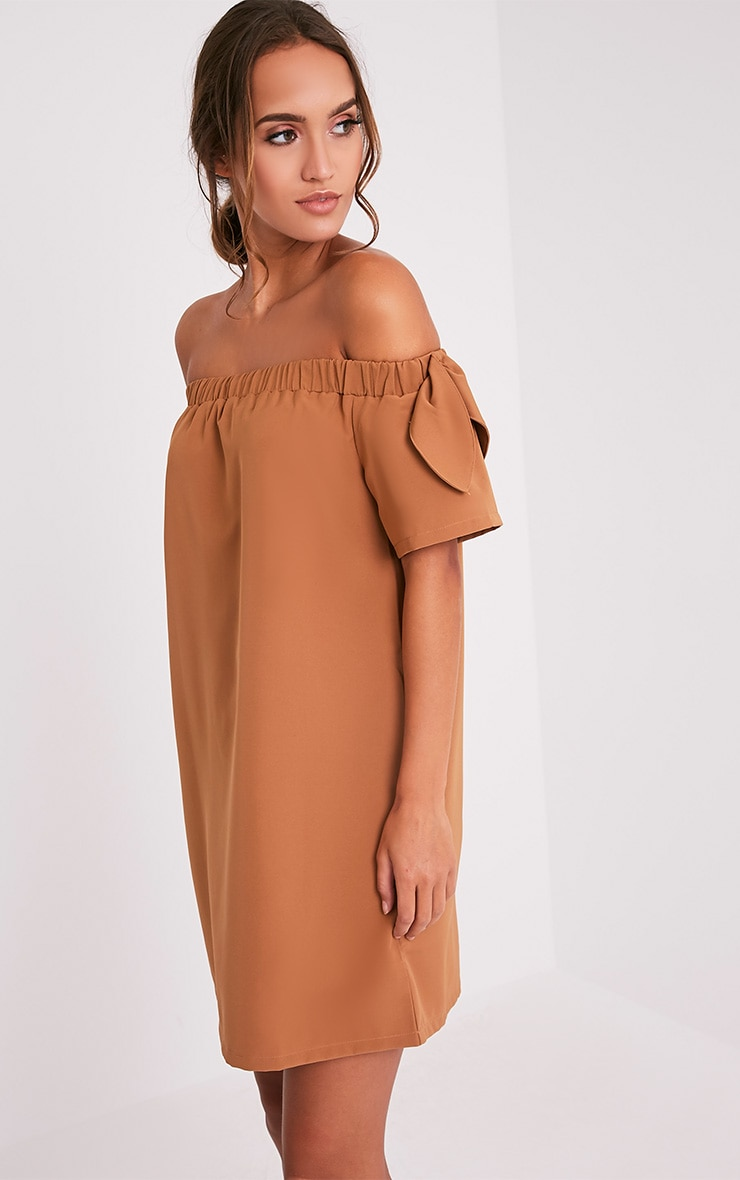 Cayla Camel Crepe Bardot Swing Dress 5