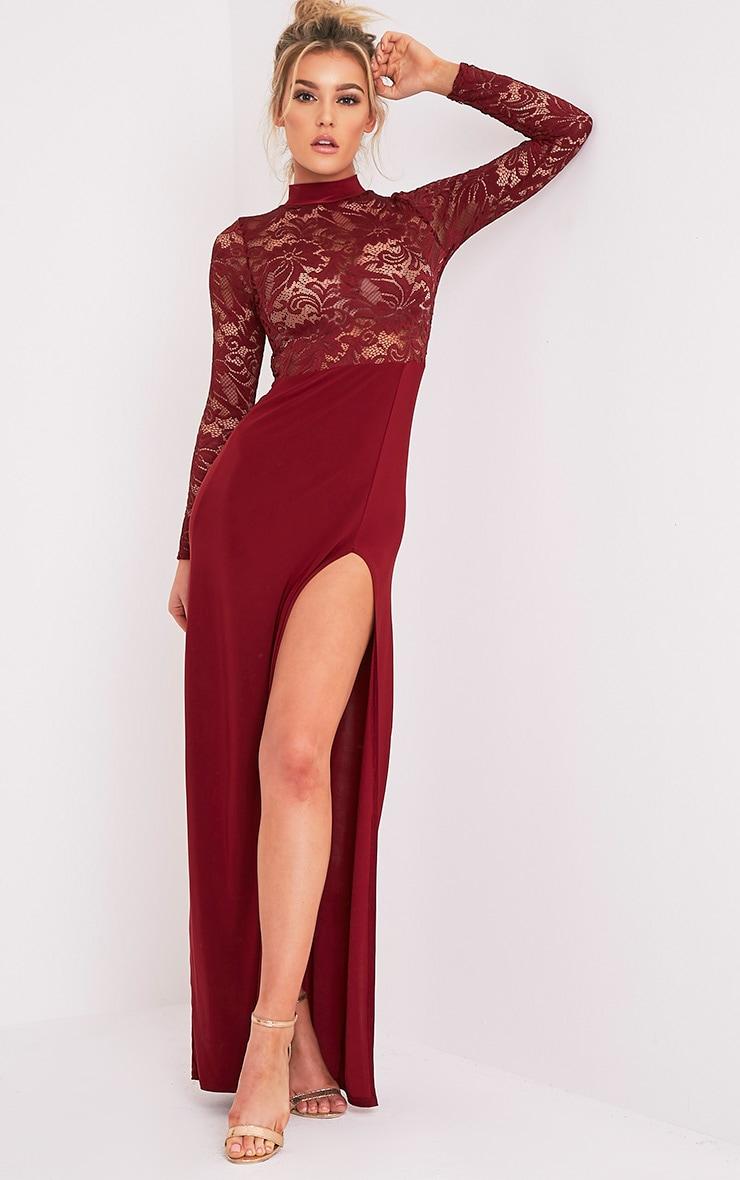 Maisie robe maxi fendue sur le côté à top en dentelle sang de bœuf 1