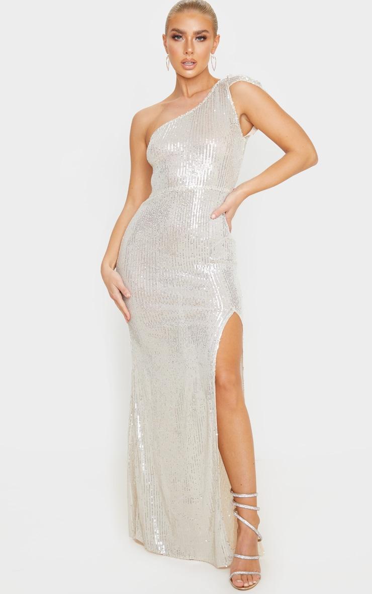 Silver Sheer Sequin One Shoulder Maxi Dress 1