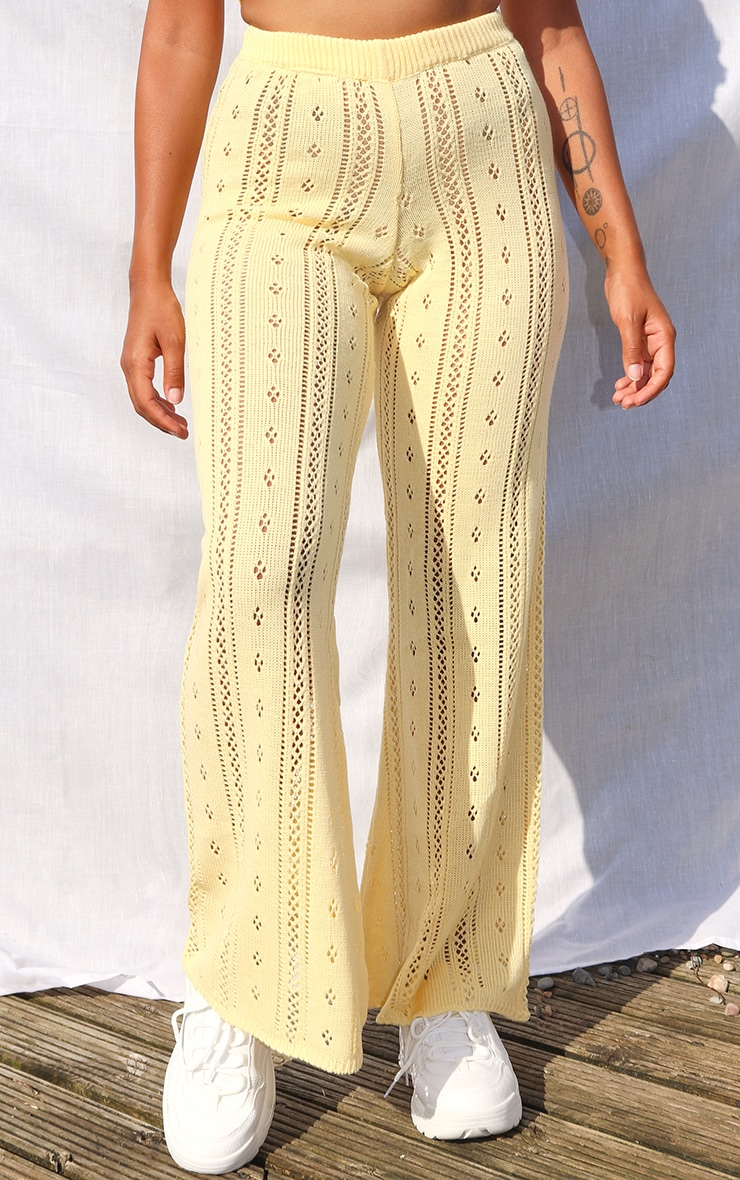 Petite Lemon Pointelle Knit Wide Leg Trousers 2