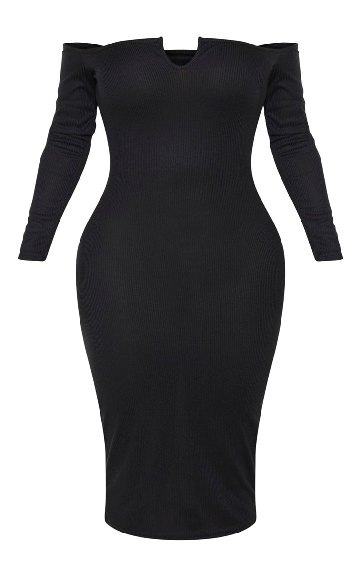 Shape Black Rib Bardot V Neck Midi Dress 3