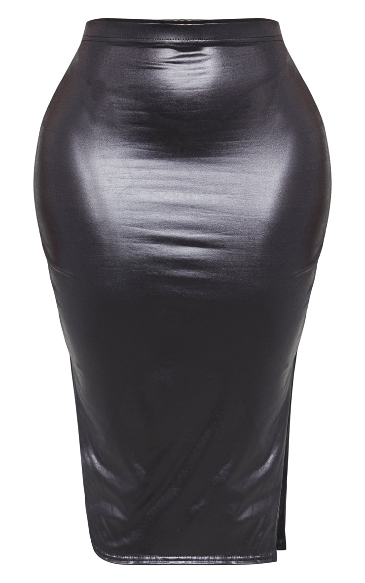 Shape Black Metallic Slinky Split Front Midi Skirt 3