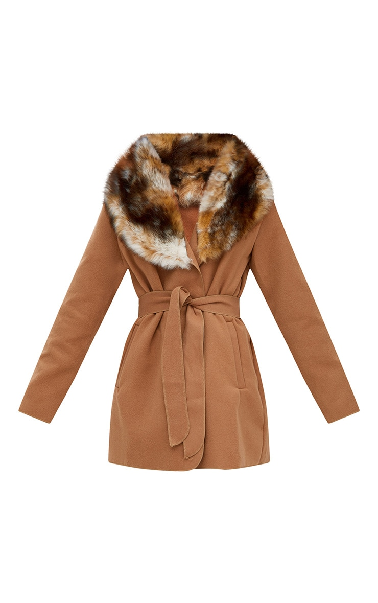 Lydia manteau camel effet cascade bordé de fausse fourrure 3