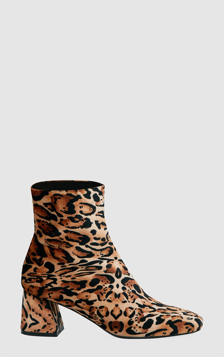 Tan Leopard Printed Velvet Ankle Boots 3