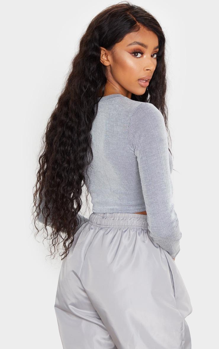 Grey Long Sleeve Stripe Crop Top 3