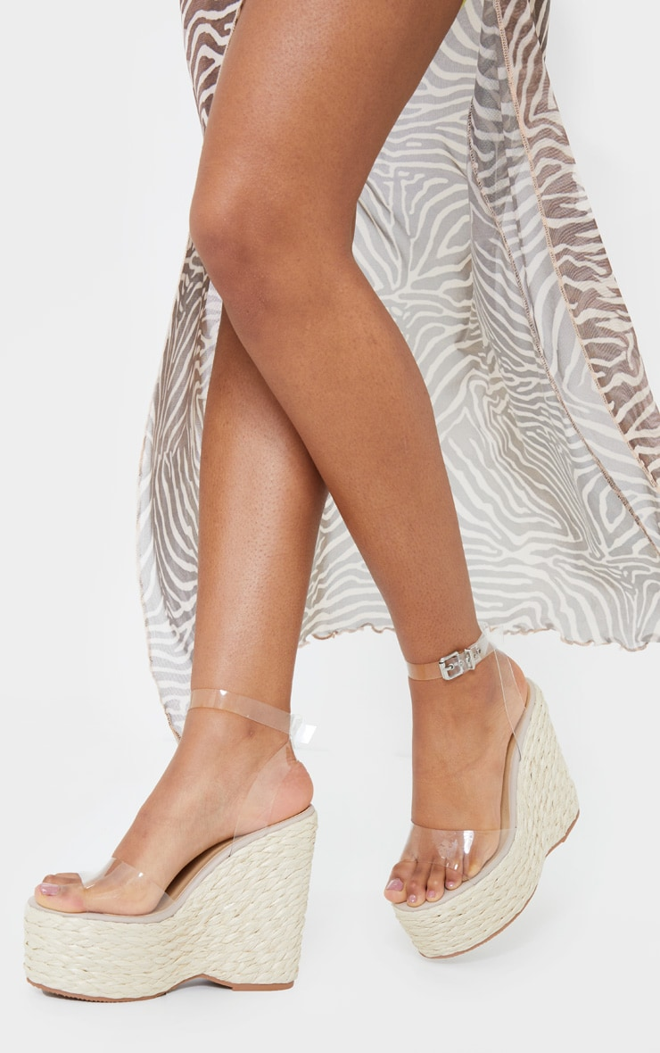 Clear Raffia Chunky Rope Ankle Strap Wedges 1