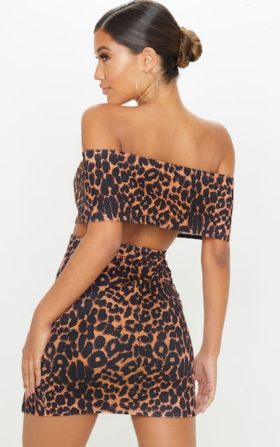 Leopard Print Bardot Thigh Split Bodycon Dress