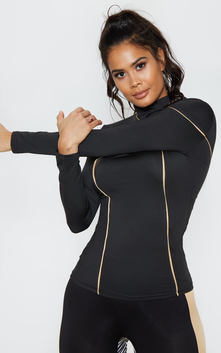 Black & Camel Long Sleeve Contrast Piping Gym Top 1