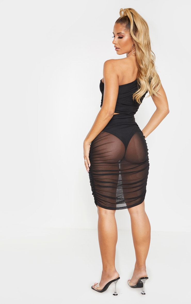 Black Mesh One Shoulder Cut Out Ruched Bodycon Dress 2