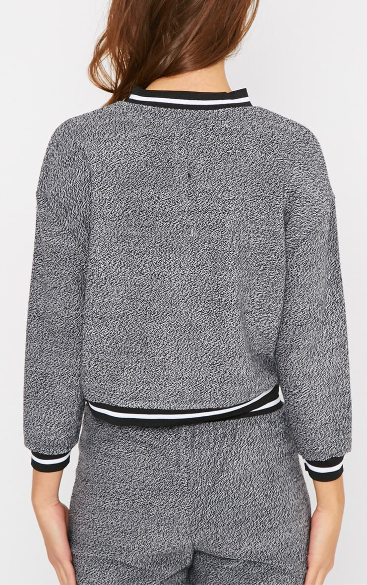 Hollie Grey Boucle Sporty Knitted Bomber 2