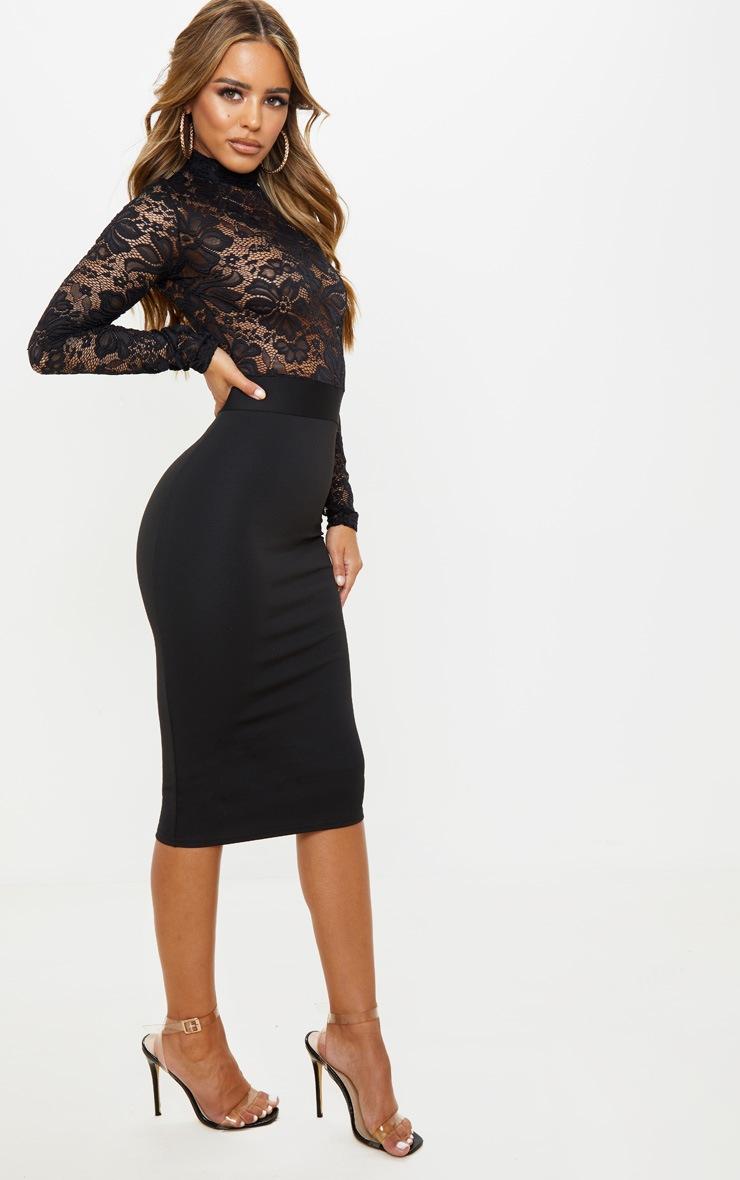 Petite Black Lace High Neck Midi Dress 4