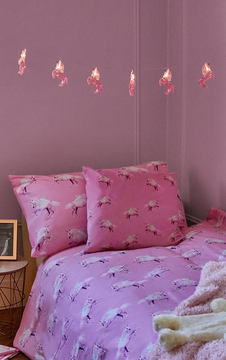 PRETTYLITTLETHING Pink Unicorn Single Duvet Set 2
