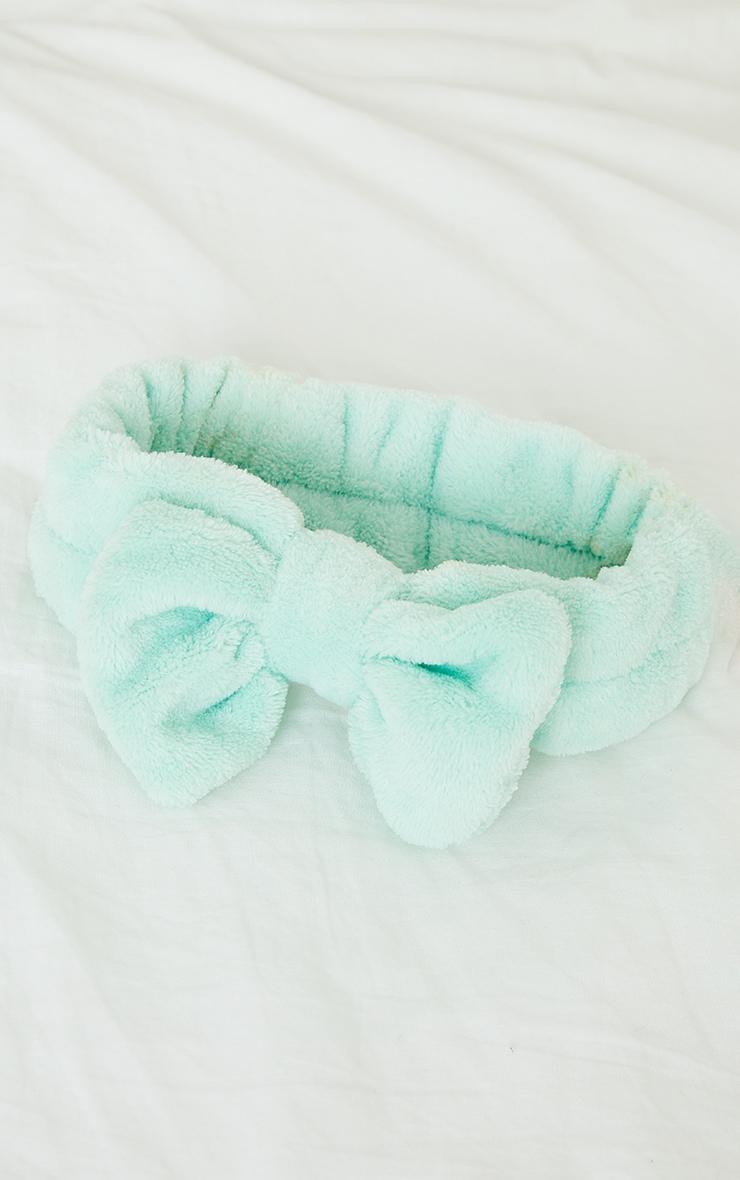Fluffy Bow Makeup Headband Mint 3