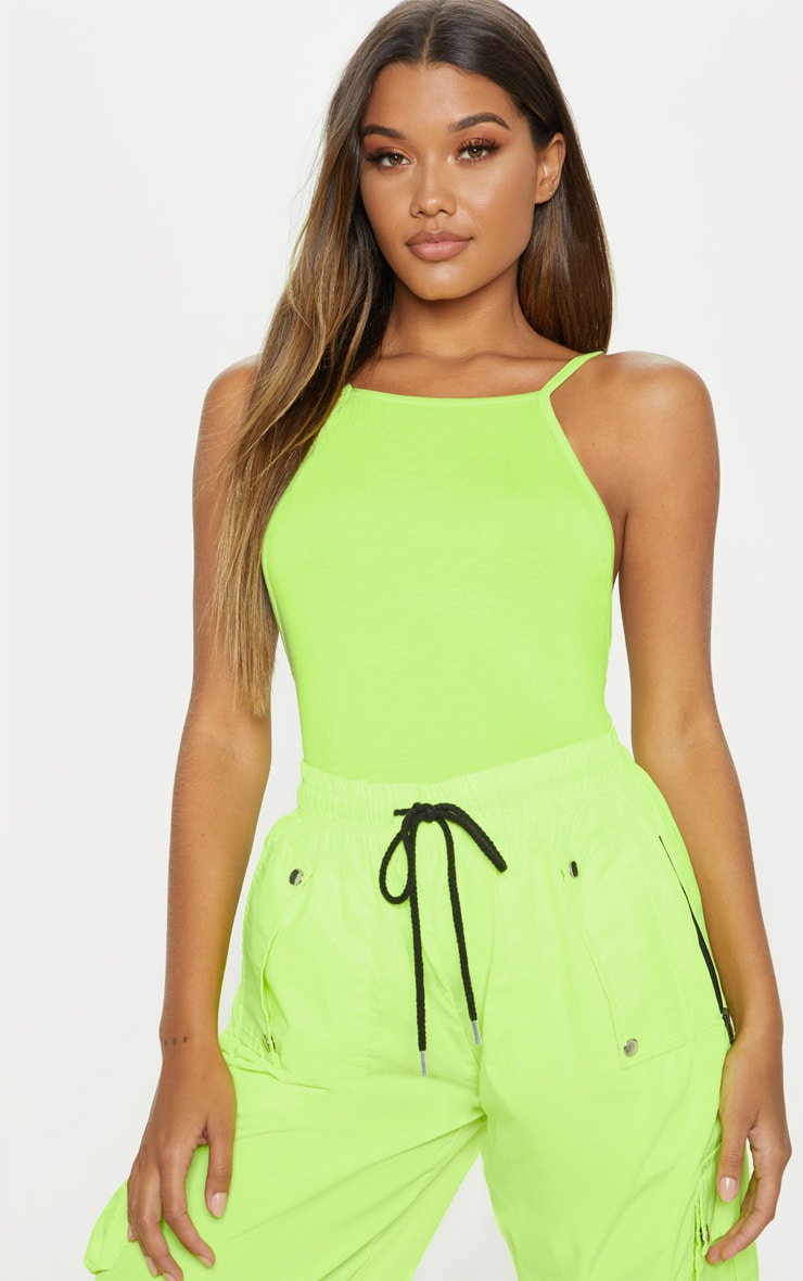 Neon Lime Jersey Low Back Vest 1