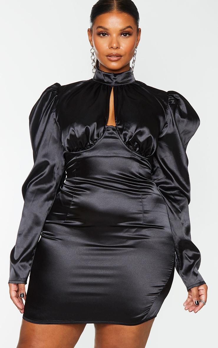 Plus Black Satin High Neck Underbust Detail Bodycon Dress 1