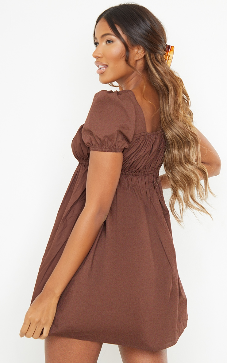 Chocolate Ruched Bust Short Sleeve Square Neck Shift Dress 2