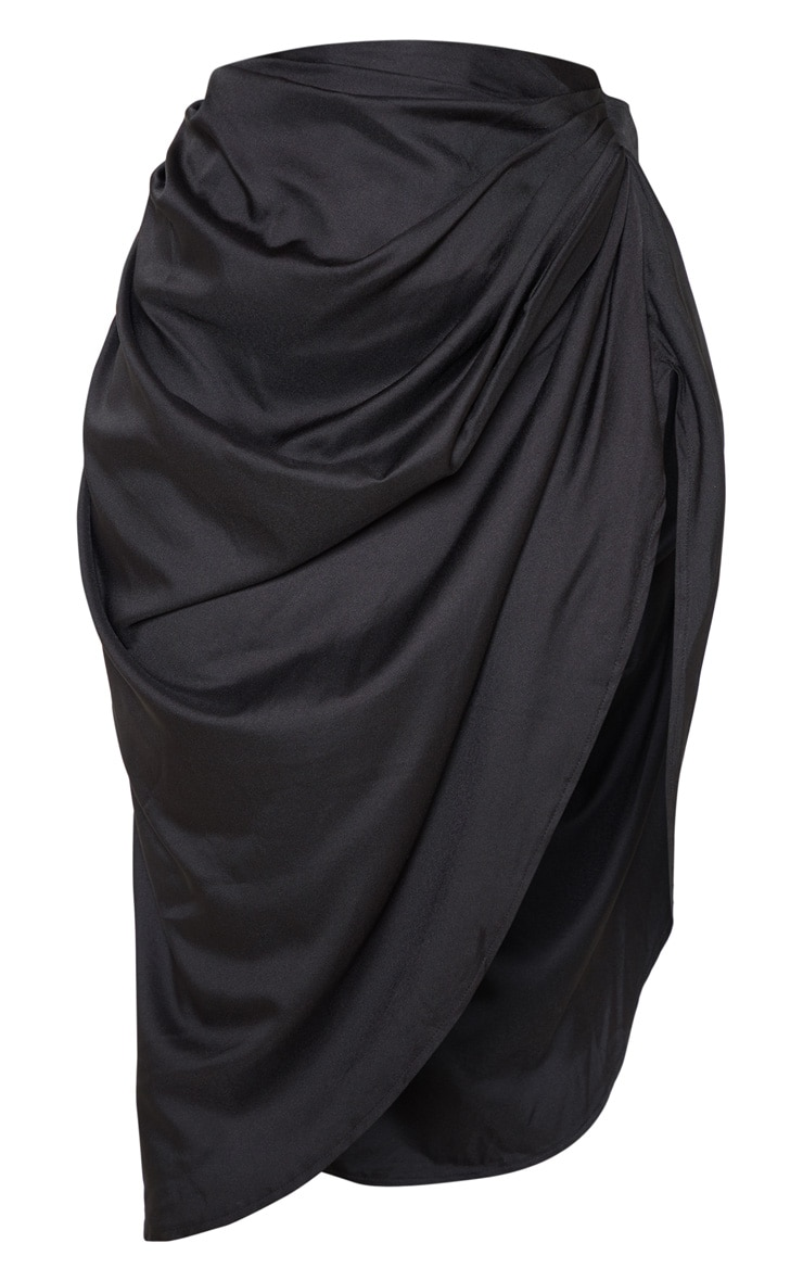 Black Ruched Side Midi Skirt 4