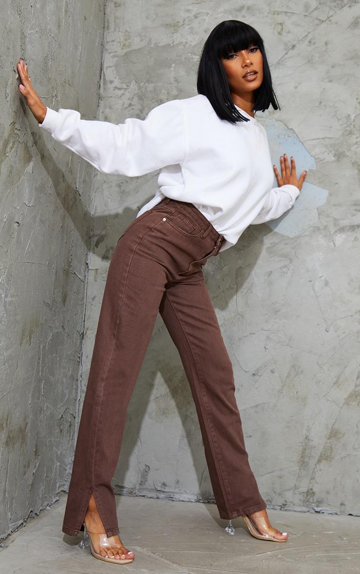 Brown Split Hem Straight Leg Jeans 1