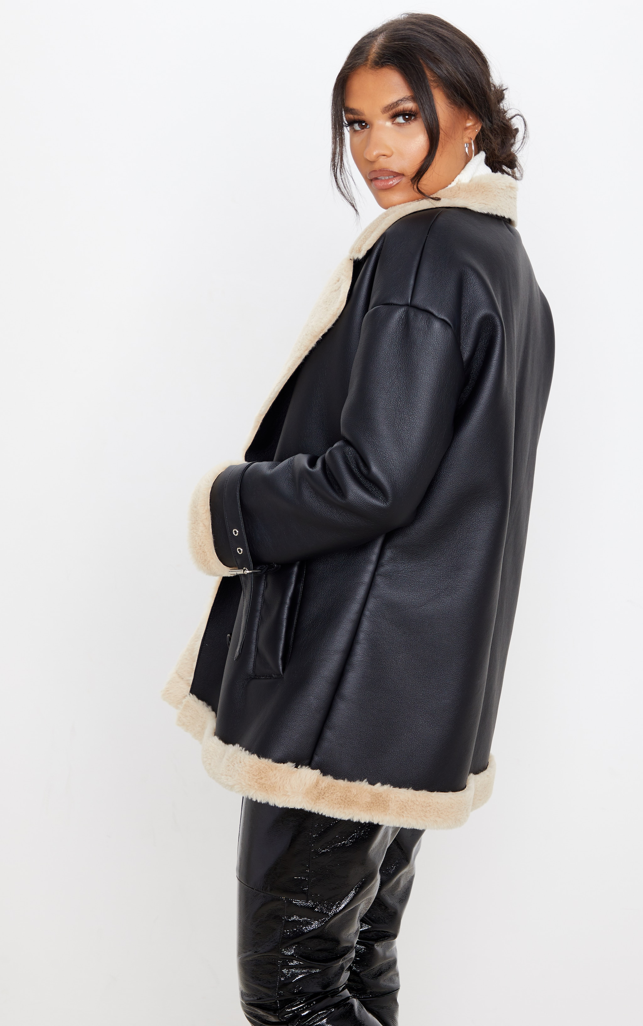 Black PU Faux Fur Trim Vintage Style Coat 3
