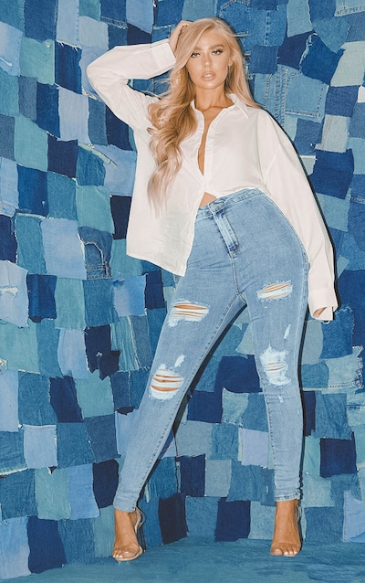 PRETTYLITTLETHING Vintage Wash Distressed Disco Skinny Jean