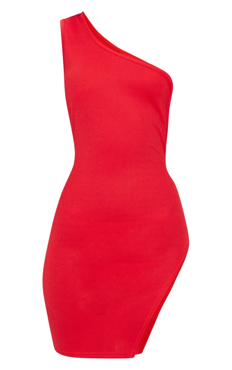 Red One Shoulder Strap Detail Extreme Split Bodycon Dress 3