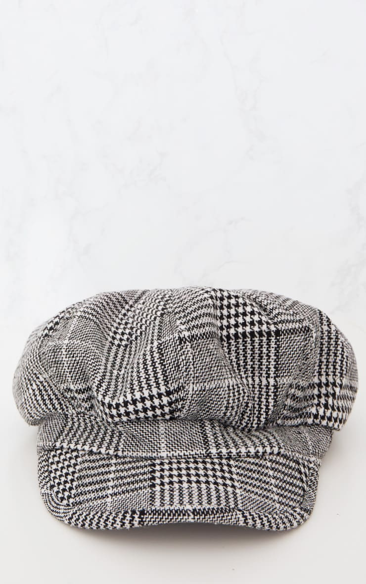 Monochrome Checked Baker Boy Hat 4
