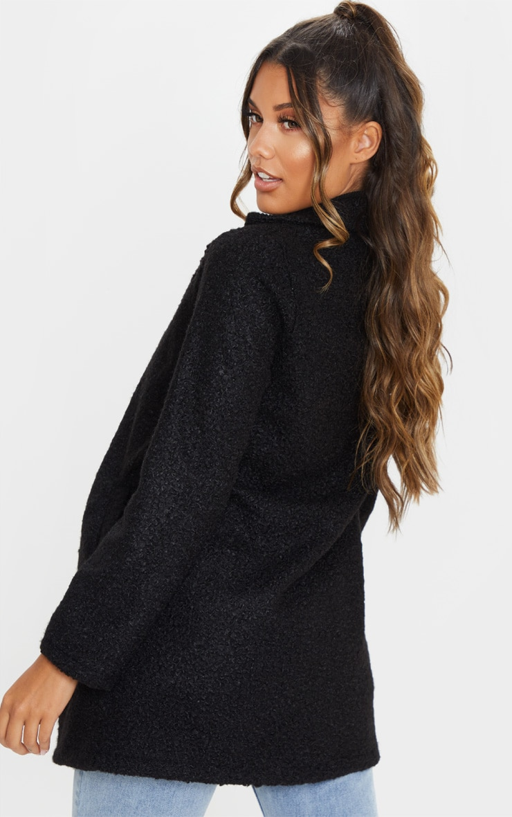 Black Textured Oversized Coat 2