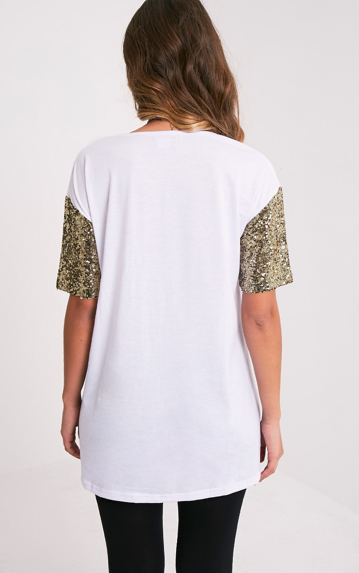 Rei White Sequin Sleeve Jersey Oversized T Shirt 2