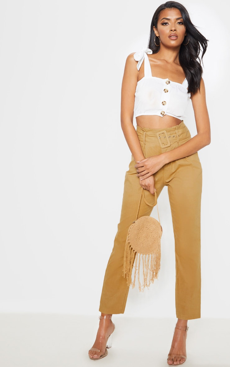 White Woven Button Up Square Neck Tie Crop Top 4