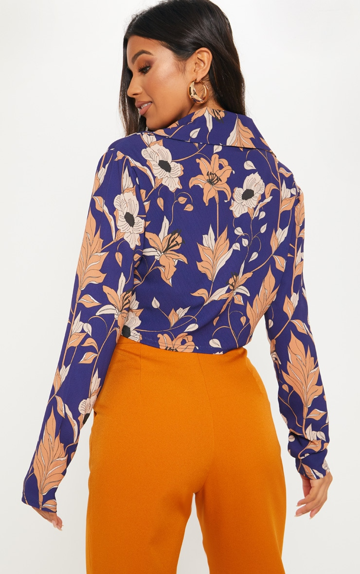 Navy Floral Print Long Sleeve Crop Shirt 2
