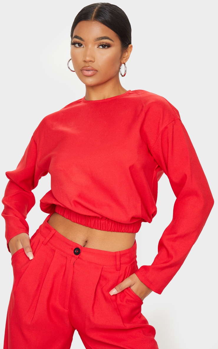 Red Woven Elastic Hem Cropped Long Sleeve Top 1