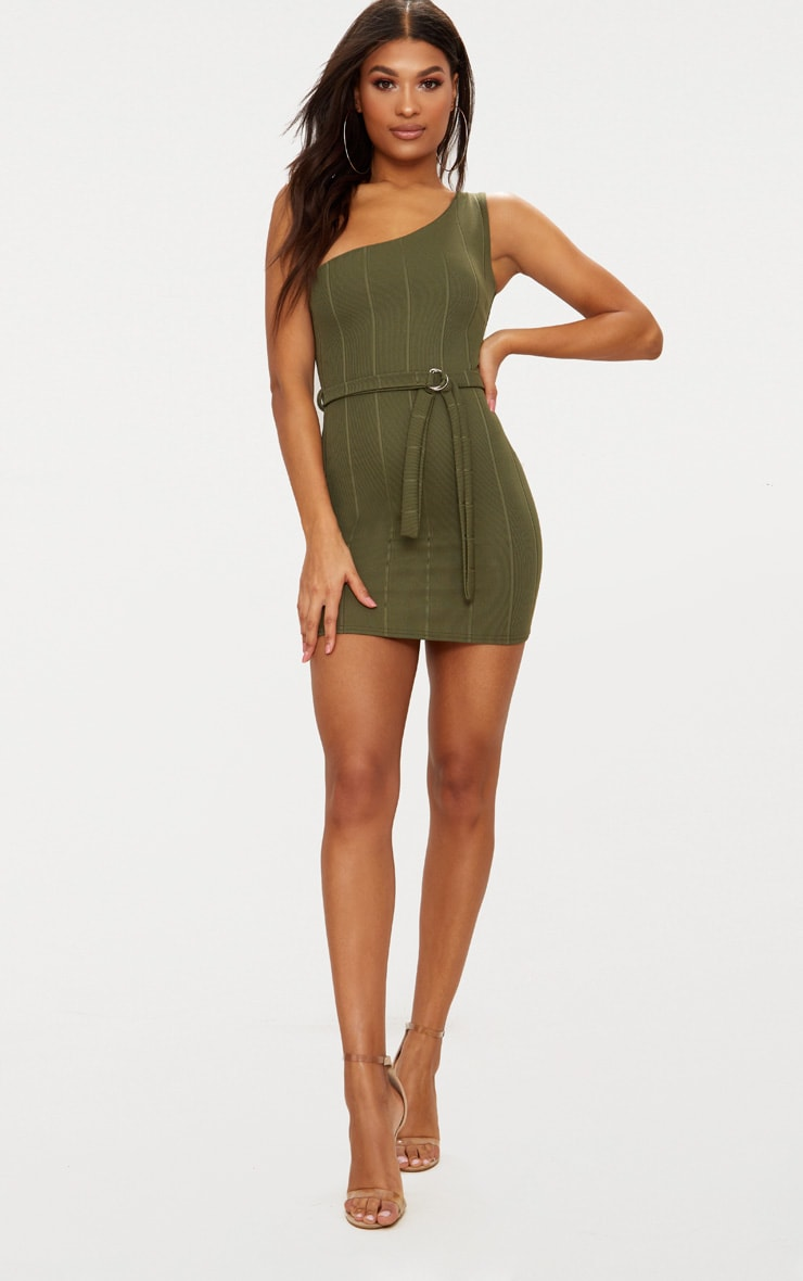 Khaki Bandage One Shoulder Belt Detail Bodycon Dress 4