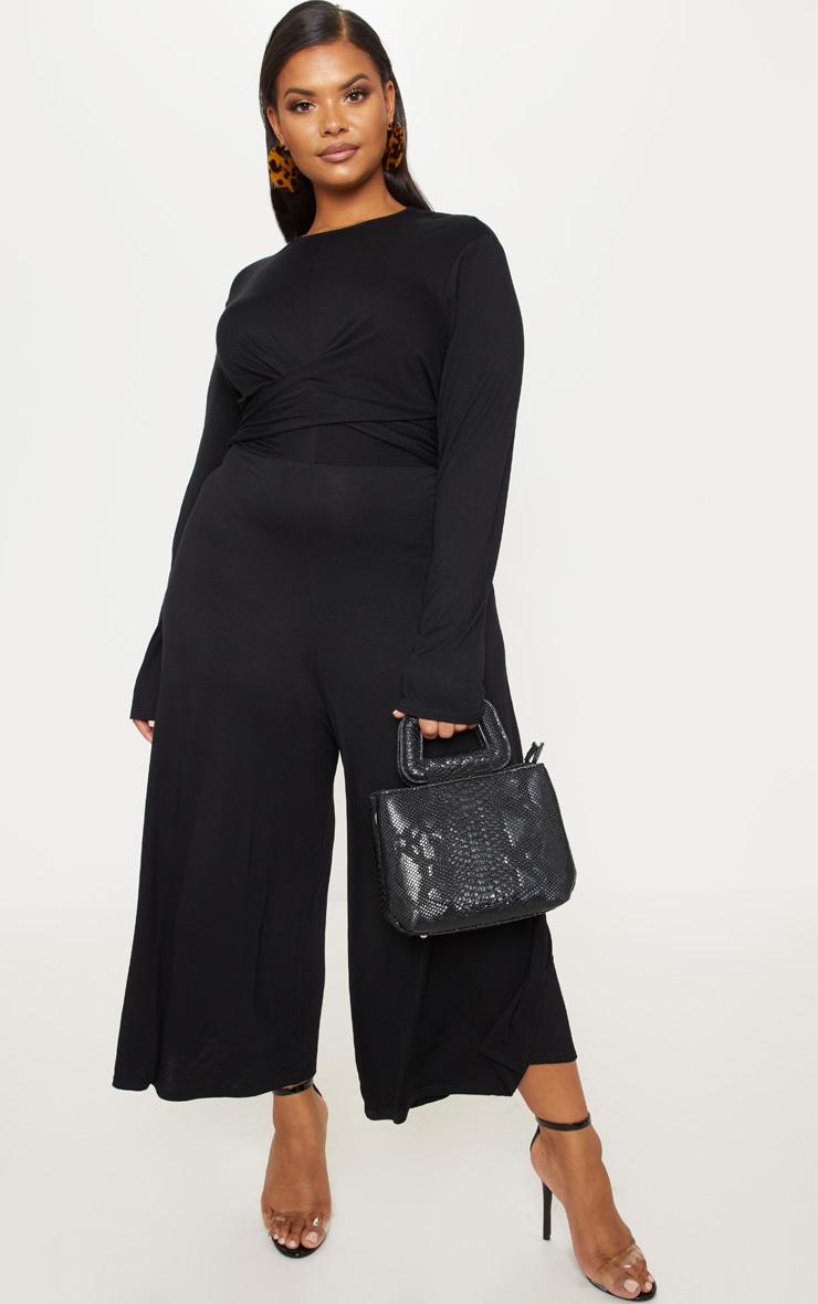 Plus Black Twist Front Culotte Jumpsuit 1