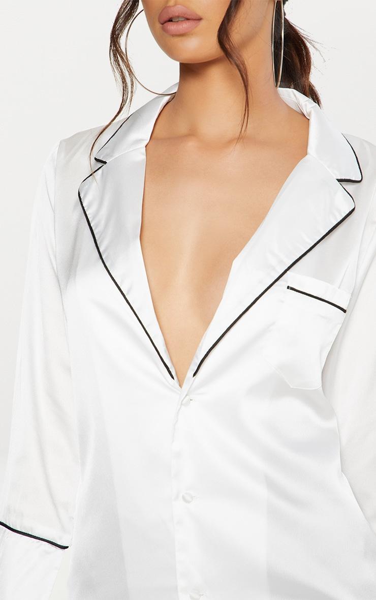 White Satin Contrast Seam Oversized Shirt  5