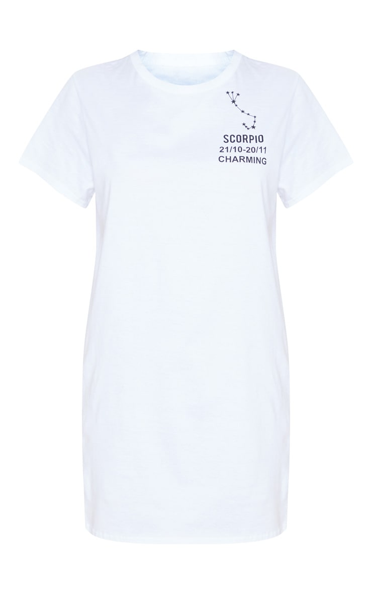 White Scorpio Definition Slogan T Shirt Dress 3