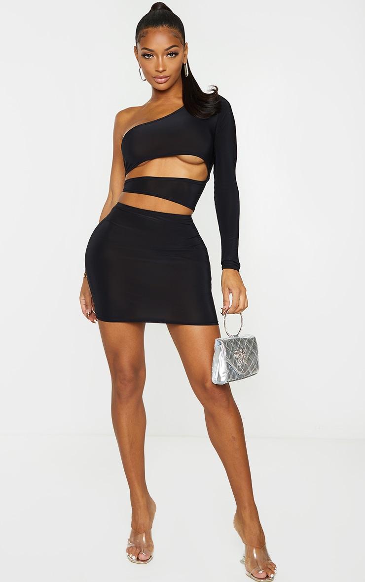 Shape Black Slinky Cut Out Side One Sleeve Bodycon Dress 3