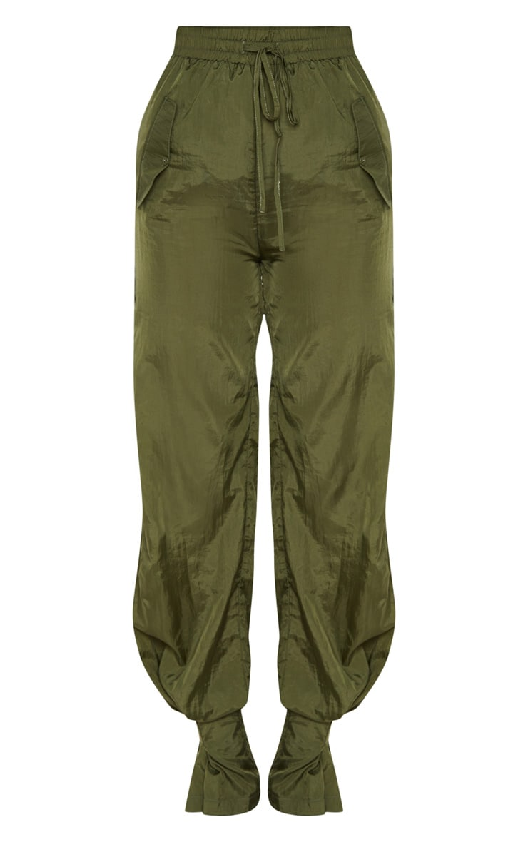 Khaki High Waisted Pocket Cuff Detail Pants 3