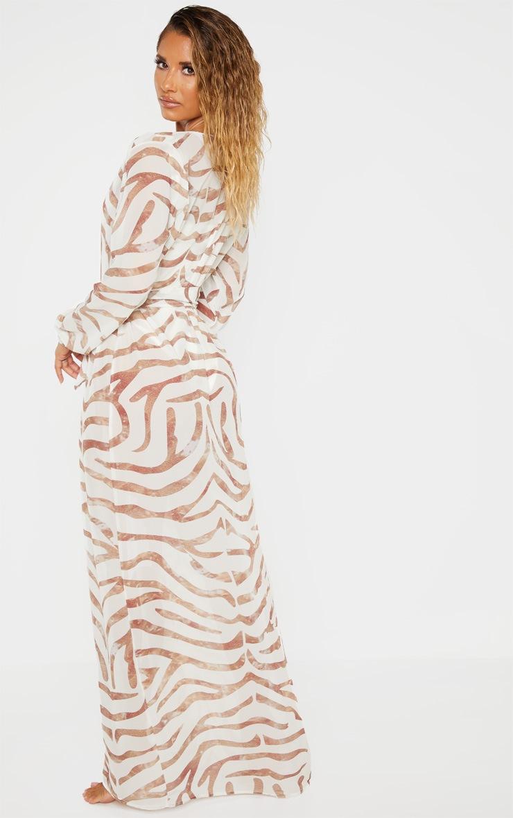 Cream Tiger Tie Waist Kimono 2