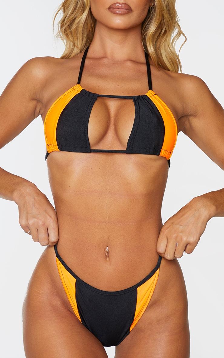 Black Contrast Tanga Bikini Bottom 1