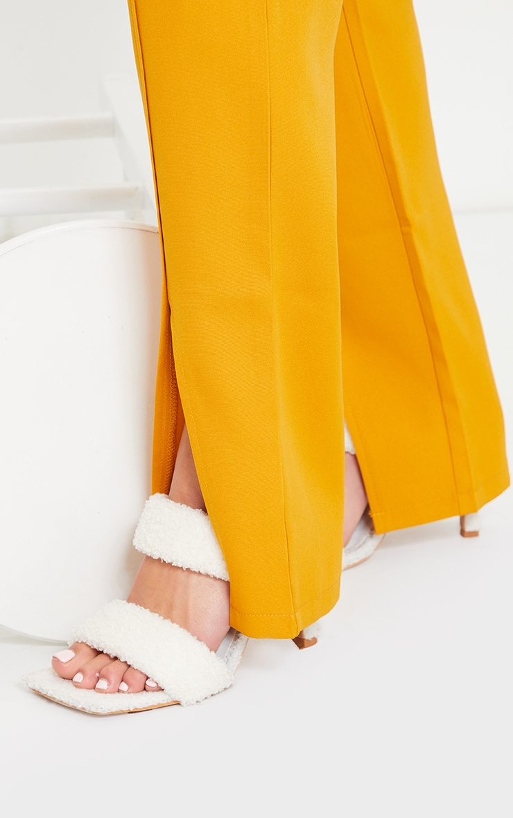 Petite Mustard Tailored Split Hem Straight Leg Pants 4
