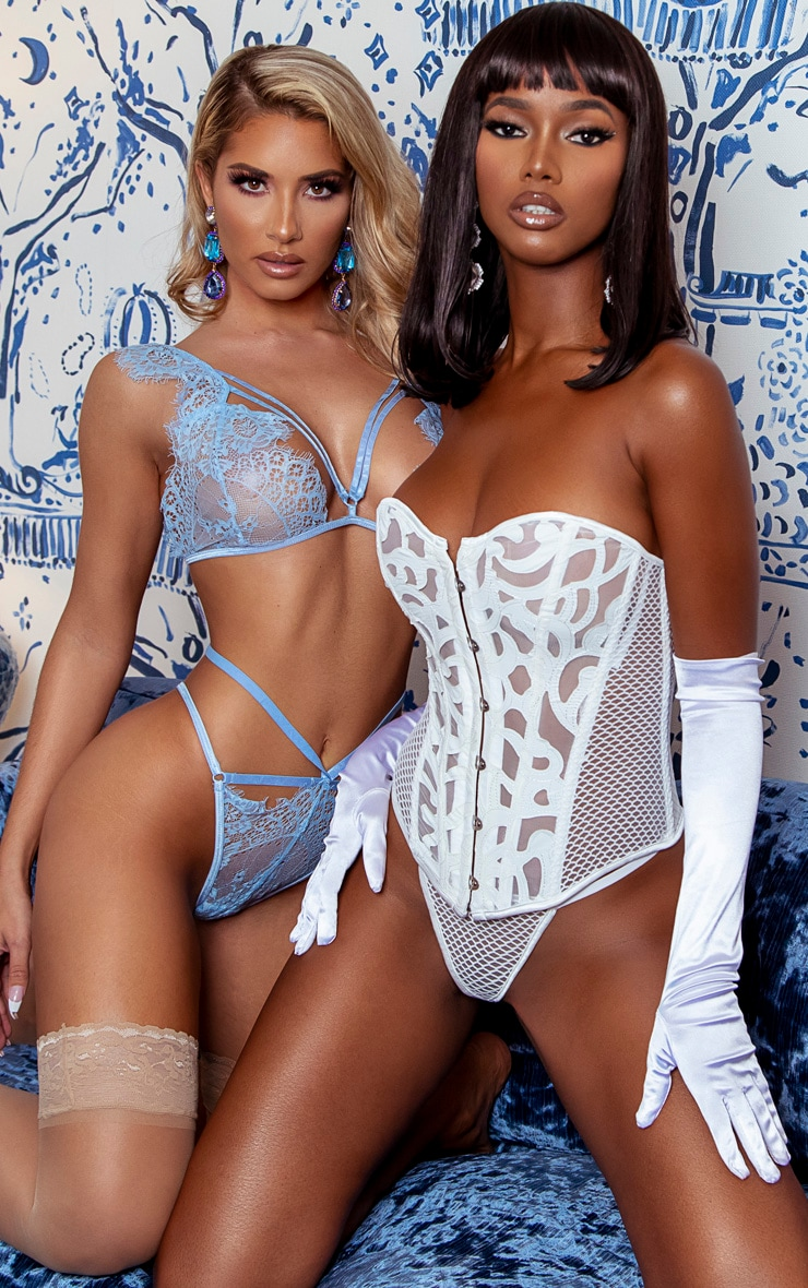 Baby Blue Harness Strap Lace Shoulder Lingerie Set 4