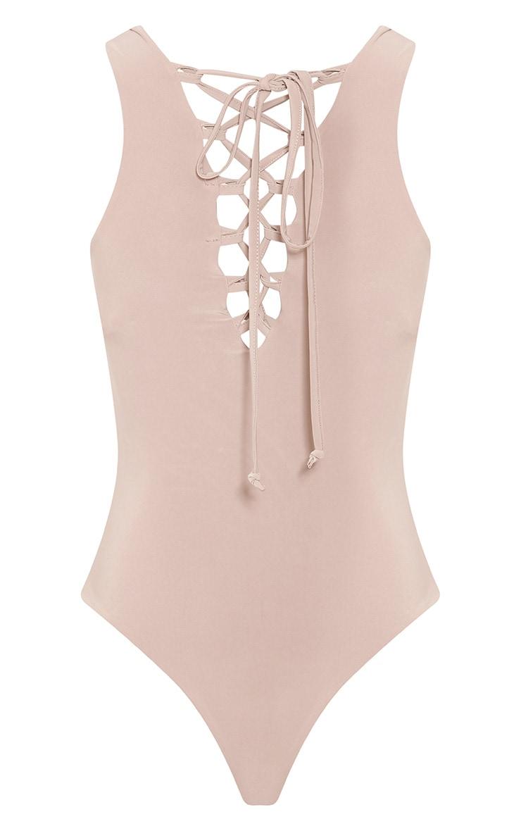 Nina Nude Lace Up Front Slinky Bodysuit 4