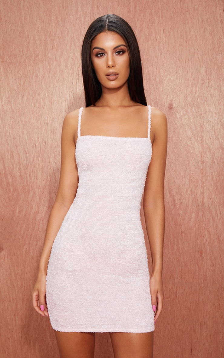 Pink Fluffy Strappy Bodycon Dress 4